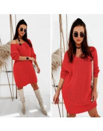 Свободна дамска рокля в червено - код 6457
