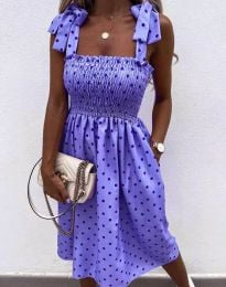 Дамска рокля в лилаво на точки - код 4535 - 6