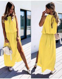 Дълга дамска рокля в жълто - код 708