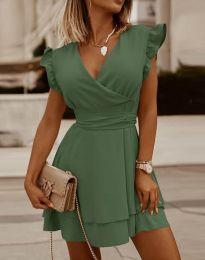 Ефирна дамска рокля в масленозелено - код 5654