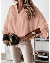 Изчистена дамска риза в розово - код 5081