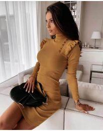 Елегантна рокля по тялото в цвят горчица - код 8484