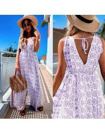 Дълга рокля с атрактивен десен в лилаво - код 675