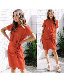 Изчистена рокля в  цвят червено  - код 835