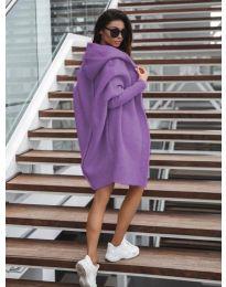 Дълга плетена жилетка в лилаво - код 053