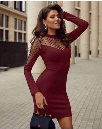 Елегантна рокля по тялото в цвят бордо - код 2484