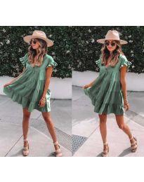 Свободна рокля в маслено зелено - код 1155