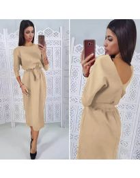 Елегантна рокля в бежово - код 974