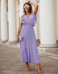 Елегантна дамска рокля с колан в лилаво - код 3320
