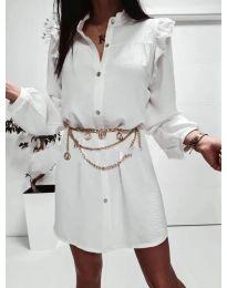 Елегантна рокля тип риза в бяло - код 3433