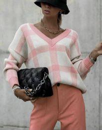 Ефектна дамска блуза в цвят пудра - код 8927