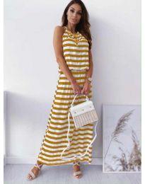 Дълга рокля на жълто райе - код 1515