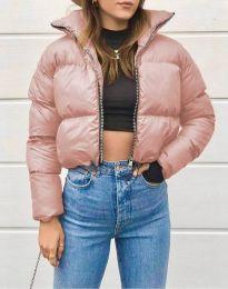 Късо дамско яке в цвят пудра - код 1101