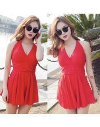 Къса червена рокля без ръкави - код 876