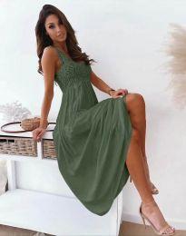 Дълга дамска рокля в масленозелено - код 4807