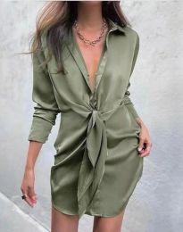 Атрактивна дамска рокля в масленозелено - код 5866
