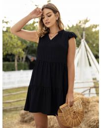 Свободна дамска рокля в черно - код 696