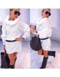 Рокля в бяло от меко плетиво с висока поло яка - код 944