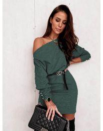 Дамска рокля в маслено зелено с голо рамо - код 4442