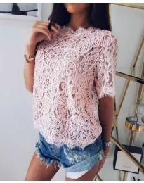 Розова дантелена блуза с 3/4 ръкав - код 099