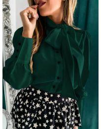 Стилна риза в зелено с шалче - код 971