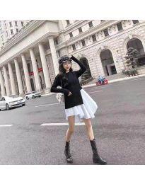 Асиметрична рокля в черно и бяло - код 617
