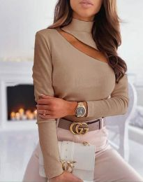 Елегантна блуза с поло яка рипс в бежово - код 11490