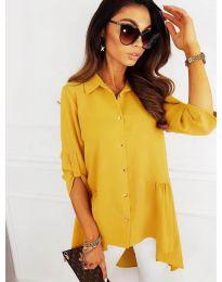 Асиметрична риза в жълто - код 5689