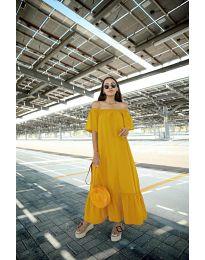 Дълга рокля в цвят горчица - код 3636