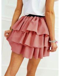 Къса пола на волани в цвят пудра - код 913