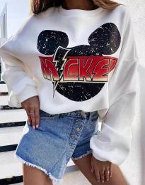 Дамска блуза в бяло с принт - код 2535