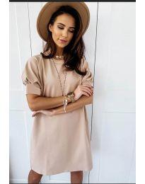 Коктейлна рокля в бежово - код 9868