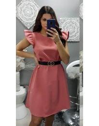 Елегантна рокля с къс ръкав в цвят корал - код 703