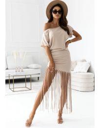 Атрактивна дамска рокля в бежово - код 12003
