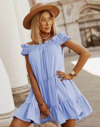 Свободна кокетна рокля в светлосиньо - код 6969
