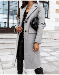 Дълго дамско палто в сиво - код 3435