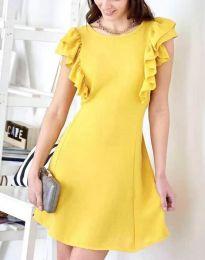 Дамска рокля в жълто с къдрички - код 7111