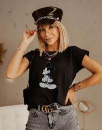 Дамска тениска с принт в черно - код 5853