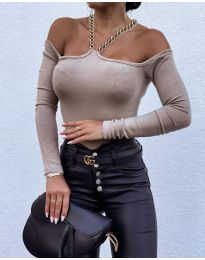 Атрактивна дамска блуза в цвят капучино - код 12050