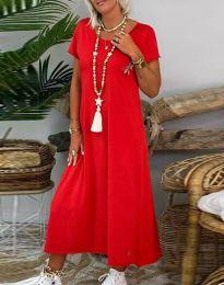 Свободна дамска рокля в червено - код 6357