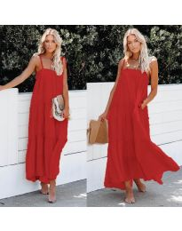Дълга ефирна рокля в червен цвят - код 551