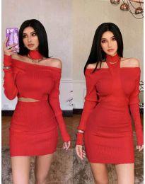Екстравагантна рокля в червено - код 3982