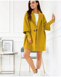 Свободно палто в цвят горчица - код 916
