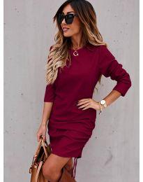 Дамска рокля в бордо - код 8293