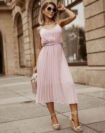 Кокетна плисирана рокля в розово - код 1249