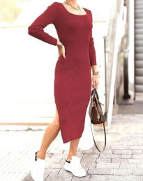 Изчистена дамска рокля в цвят бордо - код 2326