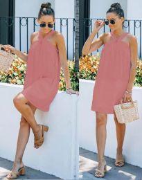 Атрактивна рокля в цвят пудра - код 9103