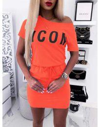 Свободна дамска рокля в цвят корал - код 9905