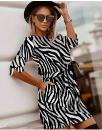 Стилна рокля с ефектен десен - код 3060 - 3
