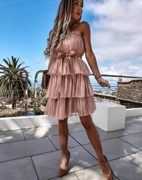 Кокетна дамска рокля в цвят пудра с панделка - код 3065